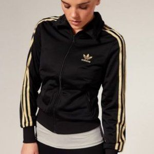 ADIDAS Vintage Black & Gold stripe track jacket L